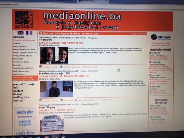 "Projekat ""Online medijska lepeza ljudskih (ne)prava uBiH"""